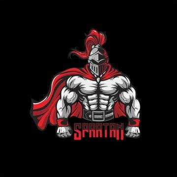 hand draw spartan knight badge and mascot logo