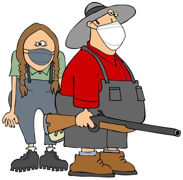 Two hillbillies wearing face masks.