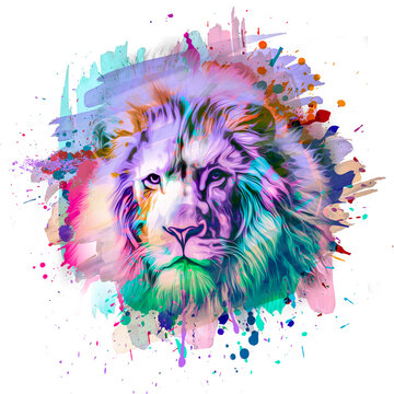 lion head in colorful paint splashes
