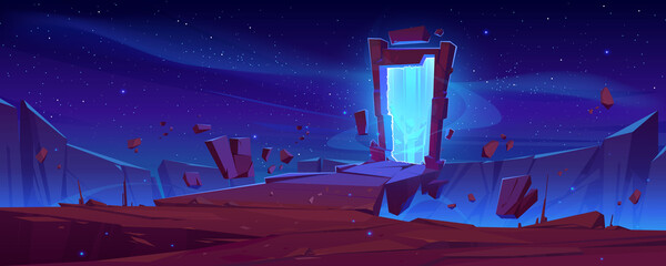 Fototapeta Magic portal on mountain cliff with flying rocks around, fantasy landscape background with glowing plasmic entrance under starry sky. Fantastic book or computer game scene, cartoon vector illustration obraz