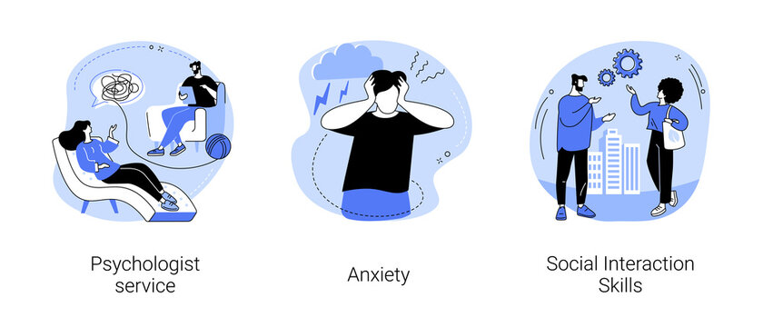 Mental health abstract concept vector illustration set. Psychologist service, anxiety, social interaction skills, family psychology, children therapy, panic attack, social network abstract metaphor.