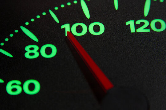 speedometer of a car at 90 km / h very close view