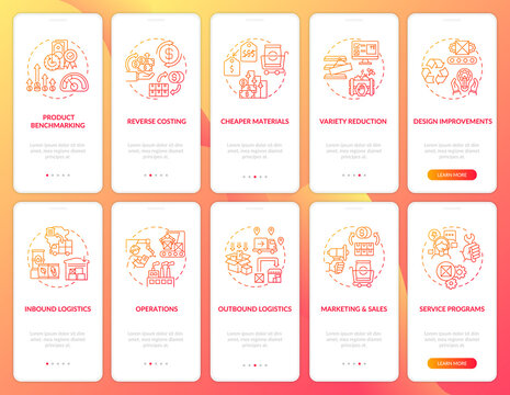 Value chain components red gradient onboarding mobile app page screen with concepts set. Company optimization walkthrough 5 steps graphic instructions. UI vector template with RGB color illustrations