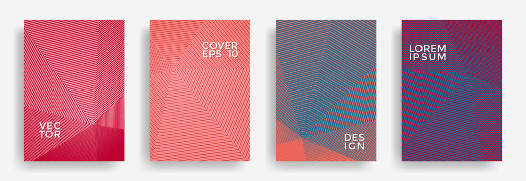 Hexagonal halftone pattern cover pages vector creative design.