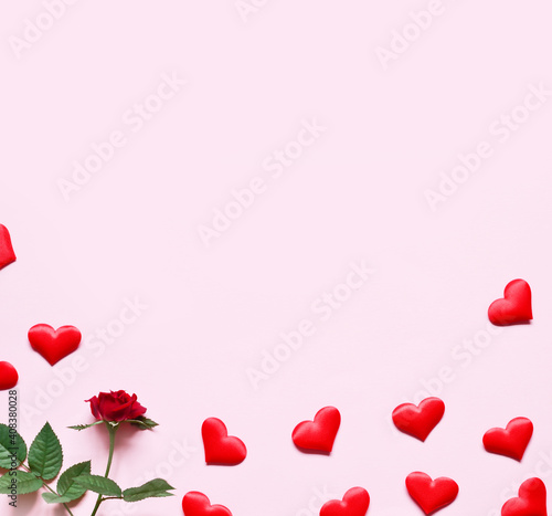 Beautiful red hearts and rose, concept of Valentine's, anniversary, mother's day and birthday greeting.