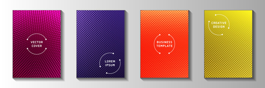 Colorful point perforated halftone title page templates vector collection. Scientific poster faded