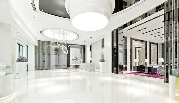 3d render of luxury hotel reception lobby entrance