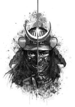 日本刀を構える戦国武将_モノクロ01