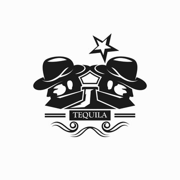 People man with tequila bottle concept logo. You can replace the sentence TEQUILA, on the logo according to your wishes.