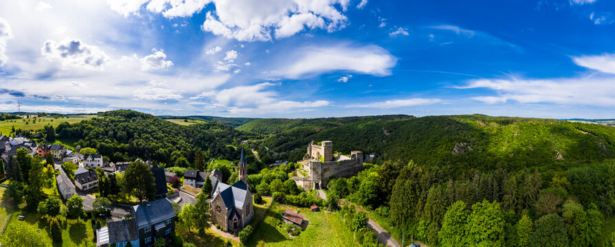 Panoramic drone shot of Burg Hohenstein, Bad Schwalbach, Rheingau-Taunus-Kreis, Hesse on sunny day, Germany