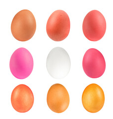 .Row colorful of eggs isolated on white background