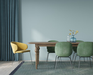 Dining room interior with soft green and yellow chairs and wo… - fototapety na wymiar