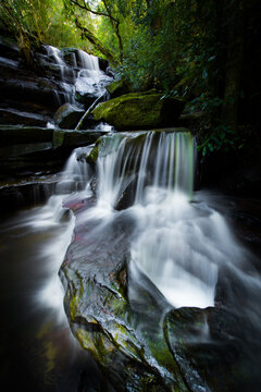 Long exposure of mossy waterfall in dark green forest