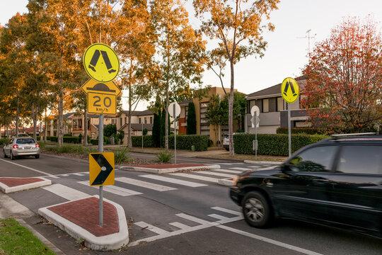 Pedestrian crossing on a speed hump on a suburban Sydney street