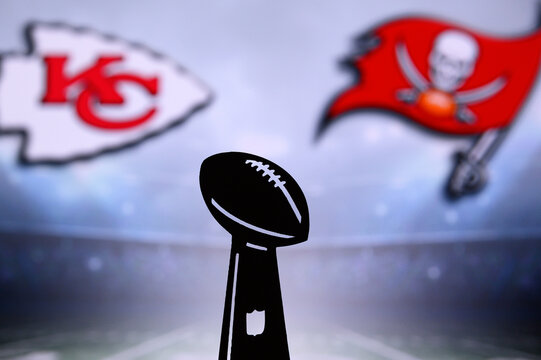 TAMPA BAY, USA, JANUARY, 25. 2021: Super Bowl LIV, the 55th Super Bowl 2020, Kansas City Chiefs vs. Tampa Bay Buccaneers. American football match, silhouette of Vince Lombardi Trophy. NFL Final