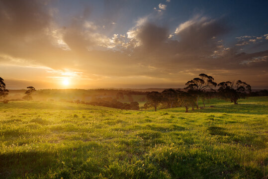 sunset over farmland, Adelaide Hills