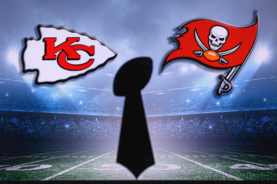 TAMPA BAY, USA, JANUARY, 25. 2021: Super Bowl LV, the 55th Super Bowl 2020, Kansas City Chiefs vs. Tampa Bay Buccaneers. American football match, silhouette of Vince Lombardi Trophy. NFL Final