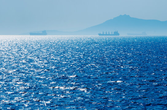 Greece, Oil tankers and cargo ships on Aegean Sea