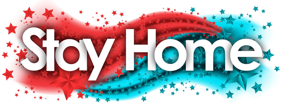 Stay Home word in stars colored background