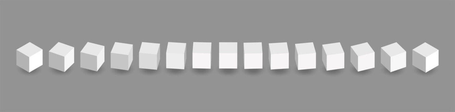 White vector 3d cubes animation. Cube icons in a perspective. Geometric blocks rotate with shadow. Vector illustration isolated on grey background.