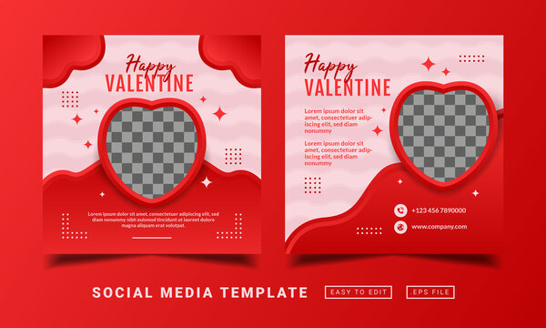 Flyer or social media post themed happy valentine day template