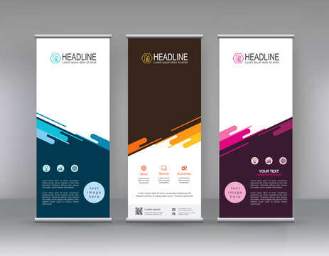 Roll up banner stand brochure flyer vertical template design, covers ,infographics ,vector abstract geometric background, modern x-banner and flag-banner advertising design element
