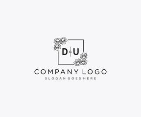 Obraz initial DU letters Botanical feminine logo template floral. - fototapety do salonu