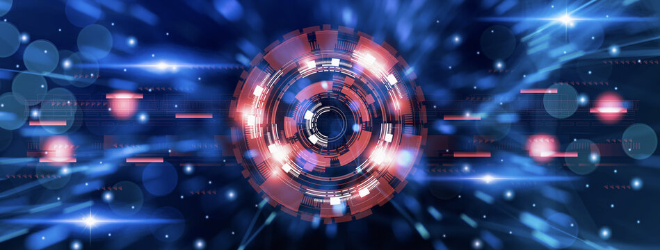 Futuristic Sci fi high tech,circle innovation technology,visual screen abstract blue background,user interface cyber space,modern HUD data,display communication,banner header panoramic illustration