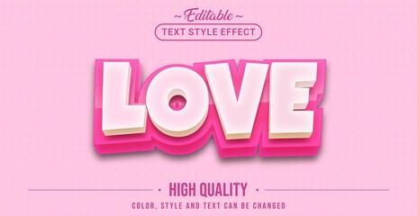 Fototapeta Editable text style effect - Love text style theme.