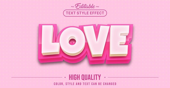Editable text style effect - Love text style theme.
