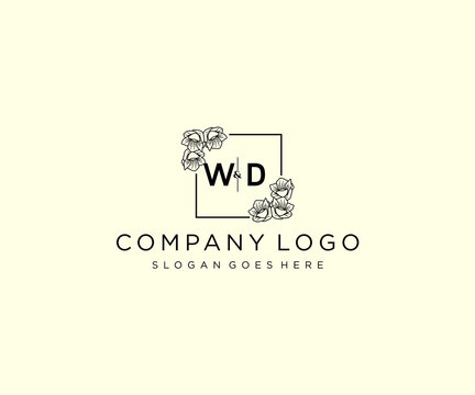 initial WD letters Botanical feminine logo template floral.
