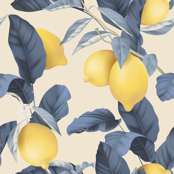 Fruit seamless pattern, pastel lemons and blue leaves on bright brown