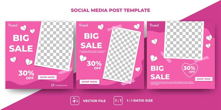 Set of Editable valentine's square banner template. Modern banner design with pink color background and love decoration. Usable for social media, banner and web. Flat design vector with photo collage.