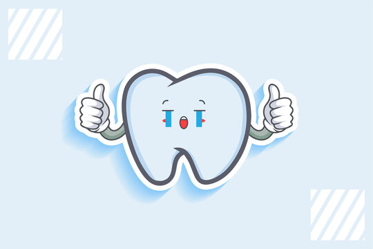 CRYING, SAD, SOB, CRY Face Emotion. Double Thumb up Hand Gesture. Tooth Cartoon Drawing Mascot Illustration.