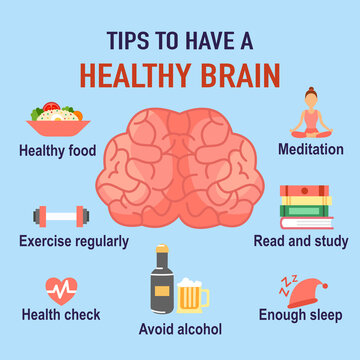 Tips to have a healthy brain infographic. Human brain with useful advice in flat design. Alzheimer's disease prevention.