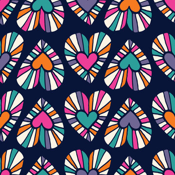 Valentine's Day Holiday Hand-Drawn Doodle Psychedelic Colorful Hearts on Dark Background Vector Seamless Pattern. Retro Bright Whimsical Feminine Print for Fashion, Packaging, Wrapping