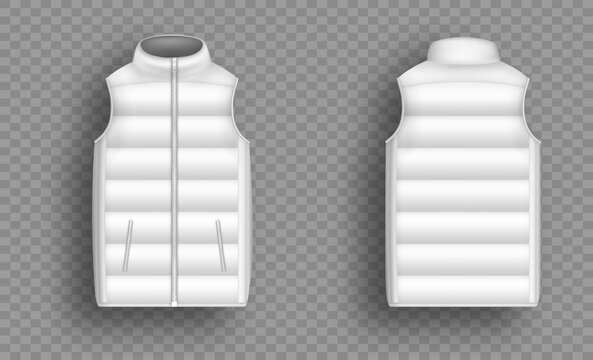 White winter puffer vest, sleeveless jacket mockup set, vector illustration isolated on transparent background. Realistic warm waistcoat, down padded vest, front and back view.