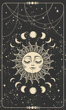 Tarot card with sun with face, moon phases and stars. Magic card, bohemian design, tattoo, engraving, witch cover. Golden mystical hand drawing on a black background.