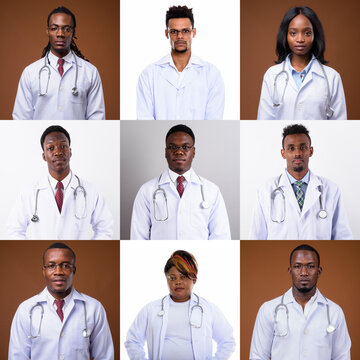 Collage of African people as doctors and healthcare workers looking at camera