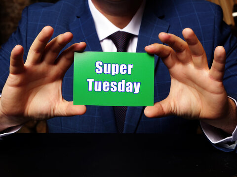 Conceptual photo about Super Tuesday with written phrase green business card.