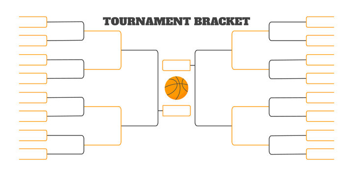32 team tournament bracket championship template flat style design vector illustration isolated on white background. Championship bracket schedule for basketball game.