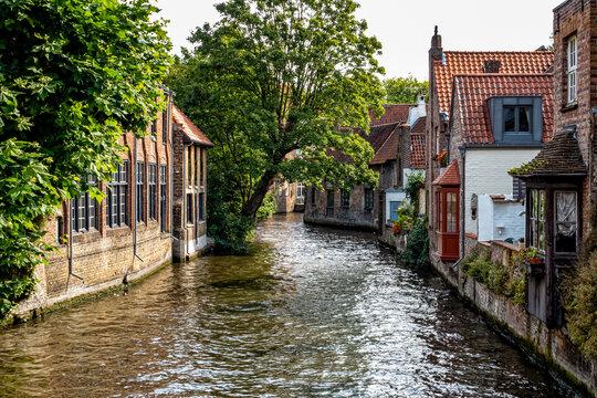 homes along a canal in medieval Bruges or Brugge, Belgium