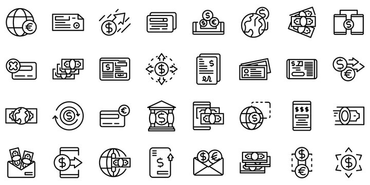 Transfer money icons set. Outline set of transfer money vector icons for web design isolated on white background