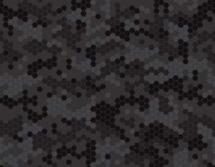 Fototapeta Dark camouflage pattern with honeycomb pixels