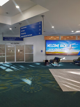 Sunshine Coast, Australia: December 27, 2020: Departures with no people due to Cov-d19 pandemic travel restrictions. Sunshine Coast Airport is an Australian airport located at the northern end of the