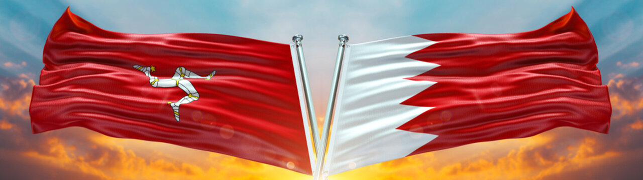 Bahrain Flag and Isle of Man flag waving with texture sky Cloud and sunset Double flag