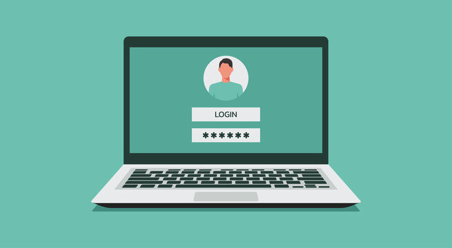 laptop computer with authorization on the screen, login and password of the user to the system or account, vector flat illustration