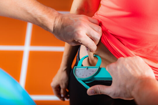 Using a caliper for subcutaneous body fat measurement, anthropometry