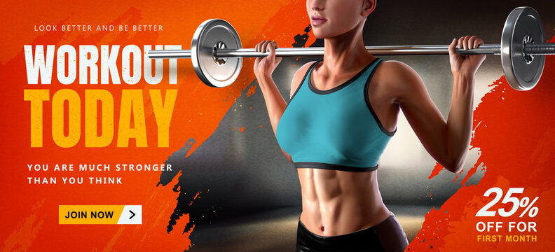 Energetic 3d barbell fitness banner