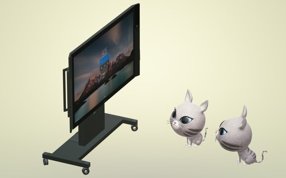 3D kittens nestled comfortably in front of the TV, on the screen of which the sea is splashing. What if a fish pops up?